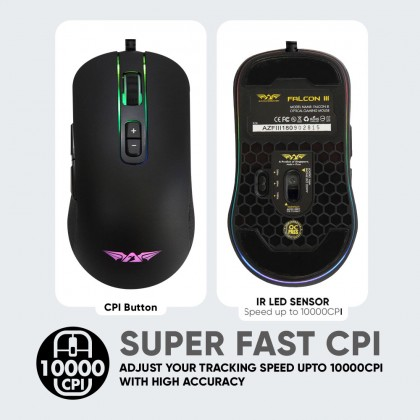Armaggeddon Falcon 3 RGB Gaming Mouse | 10000 CPI | 6 Microable Button | Programmable RGB Light | Free MouseMat